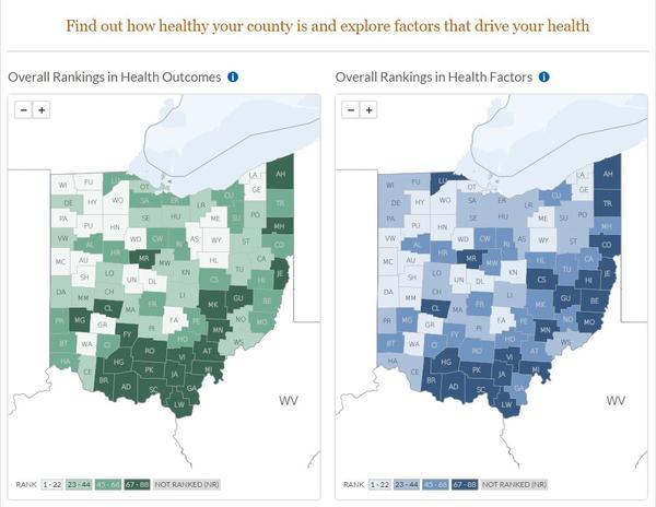Summit ranks 46th in Ohio county health rankings.
