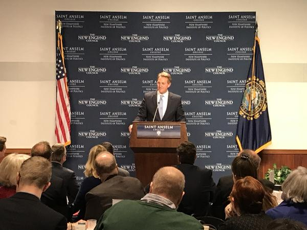Senator Jeff Flake (R-AZ)  speaks at Saint Anselm College's 'Politics and Eggs' series, long a stop for presidential hopefuls