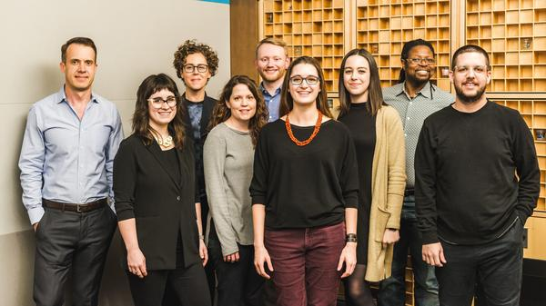 From left to right: Scott Stroud<strong>, </strong>Kaytee Nesmith, Liz Danzico, Libby Bawcombe, Dan Newman, Veronica Erb, <strong></strong>Katie Briggs,<strong> </strong>Vince Farquharson, and Josh Osborne.