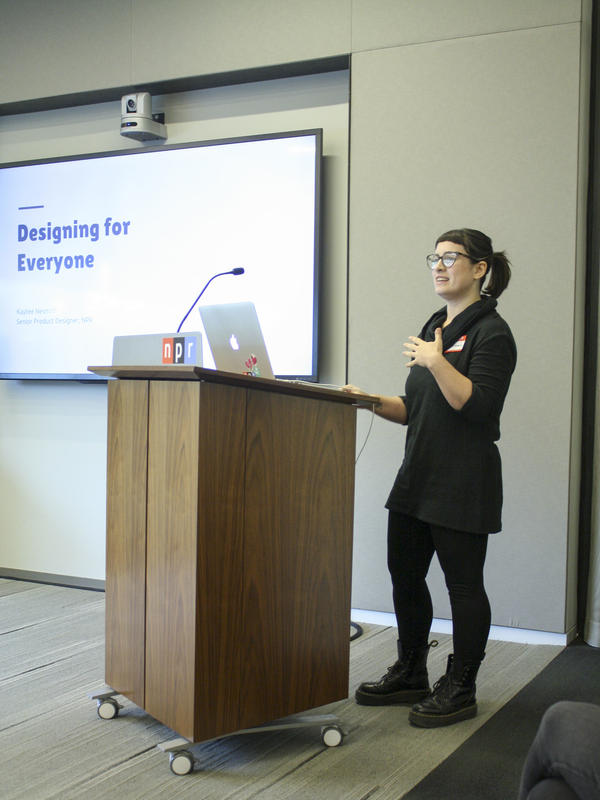"Kaytee presenting at a creative lunch"" for AIGA DC's ""DC Design Week."""