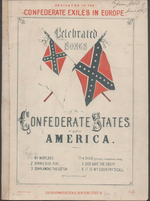 """This image, provided by the Library of Congress, shows the cover of a collection of Confederate songs published in 1861, which includes """"Maryland, My Maryland."""" State lawmakers want to retire it as Maryland's official state song but not erase it."""