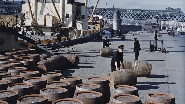 Workers roll potentially lifesaving barrels of Guinness in June 1955 on a quayside in Dublin.