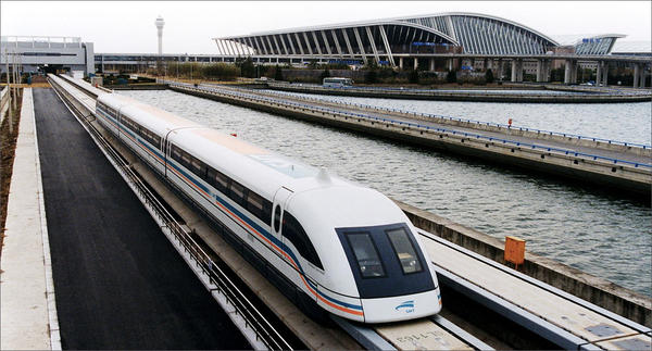 File photo of a maglev train coming out of the Pudong International Airport in Shanghai, China. Maglev is one of the technology options under consideration for a high-speed rail line between Portland and Vancouver, BC.