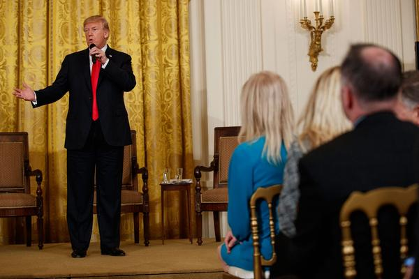 President Trump speaks during the White House Opioid Summit in the White House on March 1. Trump visits New Hampshire on Monday. (Evan Vucci/AP)