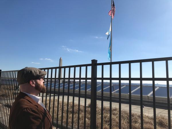 Matthew Allen on the roof of the Interior Department's Washington D.C. headquarters. It's just a few blocks from the White House, and Interior Secretary Ryan Zike has a flag raised when he's in the building.