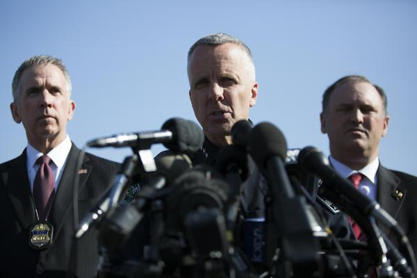 ATF Special Agent in Charge Fred Milanowski (left), interim Austin Police Chief Brian Manley and FBI Special Agent in Charge Christopher Combs brief the media Monday after an explosion in Southwest Austin.