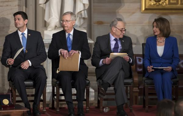 Congressional leaders (from left) House Speaker Paul Ryan, Senate Majority Leader Mitch McConnell, Senate Minority Leader Chuck Schumer and House Minority Leader Nancy Pelosi appear together at a January event in the U.S. Capitol.