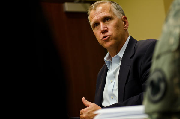 North Carolina Sen. Thom Tillis spoke during a visit to U.S. Army Reserve Command headquarters, Fort Bragg, N.C., April 8, 2015.