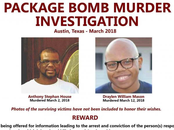 The chief suspect in a string of deadly bombings in Texas has been identified as Mark Anthony Conditt. Here, an FBI poster about the Austin serial bomber shows the two men who died in this month's attacks.