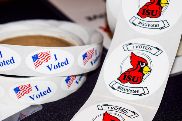 Stickers at a polling place at Illinois State University's Bone Student Center on Tuesday, March 20, 2018.