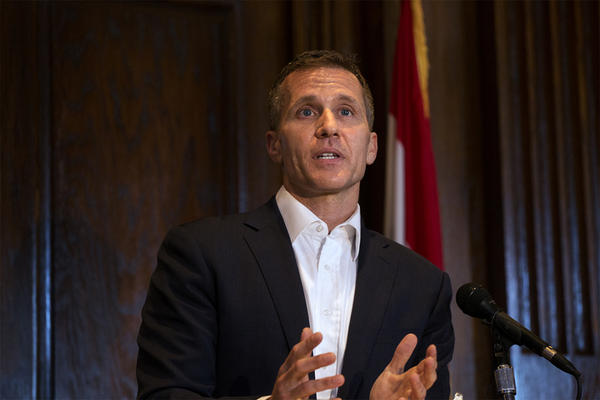 The trial of Missouri Gov. Eric Greitens, shown here in 2017, will start May 14. Defense attorneys wanted to move it to April.