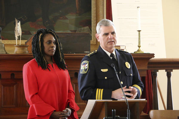 Teresa Haley of the NAACP & James Kruger, President of the Illinois Association of Chiefs of Police