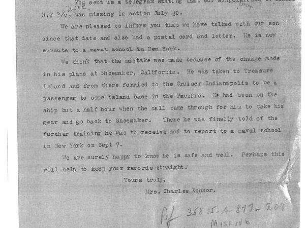 A copy of a letter from the mother of RT2c Clarence W. Donnor to the Chief of Naval Personnel.