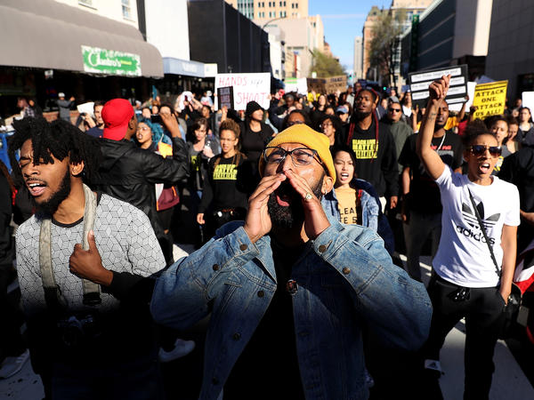 Black Lives Matter protesters march Thursday in Sacramento, Calif., after two officers in the city's police department shot and killed Stephon Clark, an unarmed black man, in the backyard of his grandparents' house on Sunday evening.