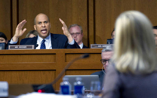 Sen. Cory Booker D-N.J., questions Homeland Security Secretary Kirstjen Nielsen during a hearing before the Senate Judiciary Committee on Capitol Hill,  Jan. 16,  in Washington