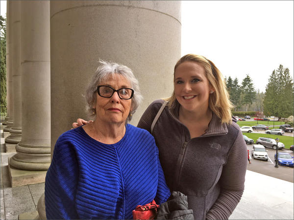 Betsy Deane and her granddaughter, Toria Staudinger, traveled to Olympia to witness Gov. Jay Inslee sign a grandparent visitation bill into law. Deane hopes to use the new law to win visitation rights to see her nine-year-old granddaughter.