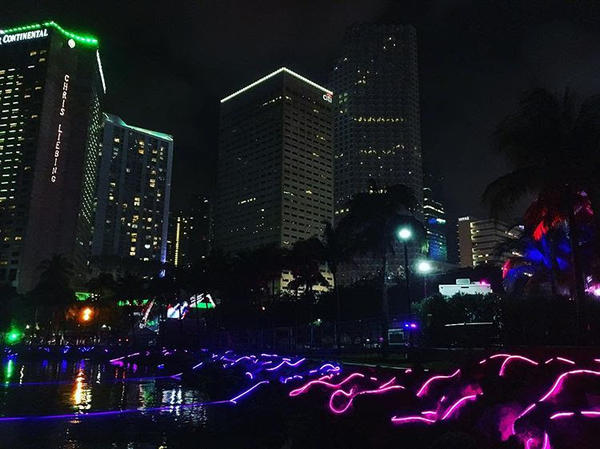 The scene at last year's Ultra Music Festival in Miami, with high-rises looming above the venue. In light of last fall's Las Vegas mass shooting, those buildings have Miami police ramping up security,