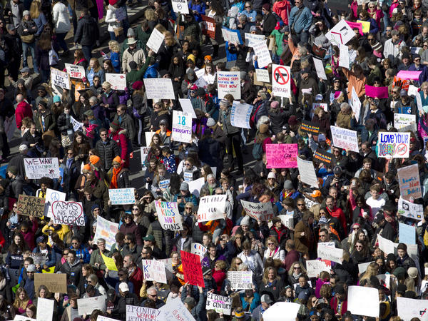 """Protesters line Pennsylvania Avenue during the """"March for Our Lives"""" rally in support of gun control in Washington on Saturday."""