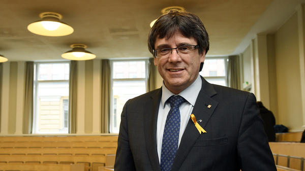Deposed leader of Catalonia's pro-independence party Carles Puigdemont photographed ahead of his lecture at the University of Helsinki, Finland on Friday. His lawyer said he was detained over the weekend after crossing into Germany.
