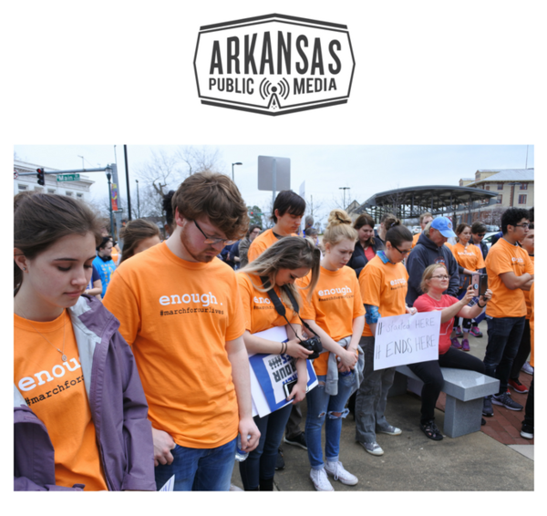 Ralliers at the March for Our Lives in Jonesboro observe a moment of silence for the victims of the Westside Middle School massacre March 24, 1998.