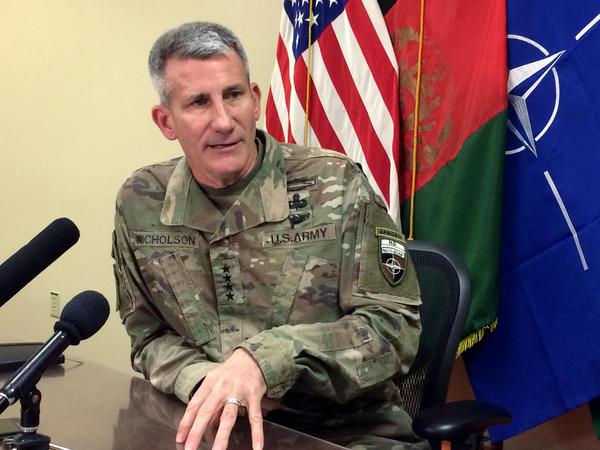 Gen. John Nicholson, the top American commander in Afghanistan, speaks to reporters last week at Bagram air base north of Kabul, Afghanistan.