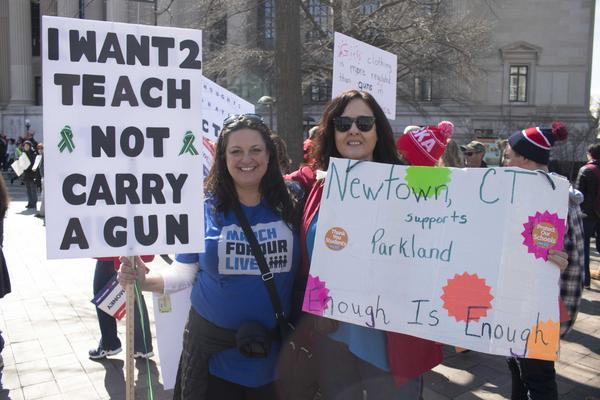 Carol St. John and Kathy Heffman, teachers from Trumbull, Conn., traveled to Washington to take part in the rally.