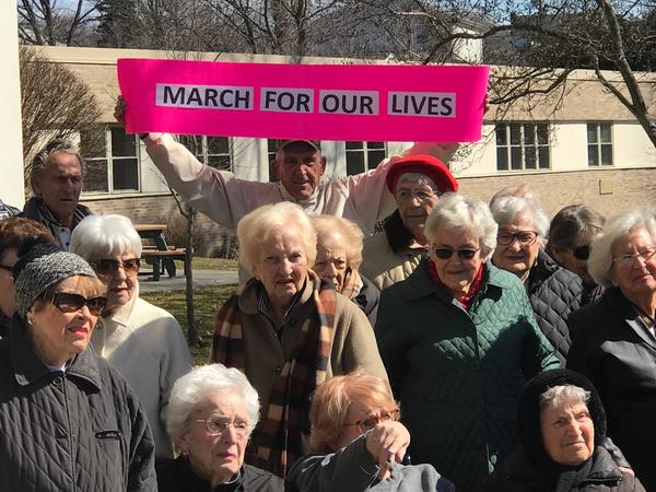 Residents from the Watermark at 3030 Park senior living community in Bridgeport, Conn., held their own solidarity rally outside the facility.