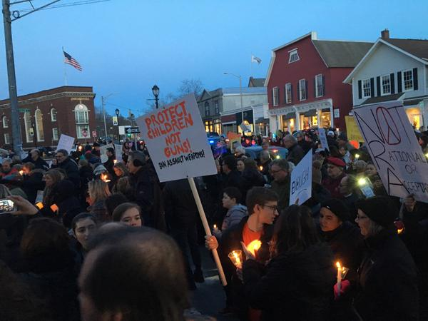Westport, Conn., residents held a candelight vigil as the sun was setting on a long and emotional day.