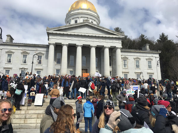 "Attendees of the Montpelier ""March For Our Lives"" gather outside the Vermont Statehouse Saturday. A number of speakers were featured at the rally."