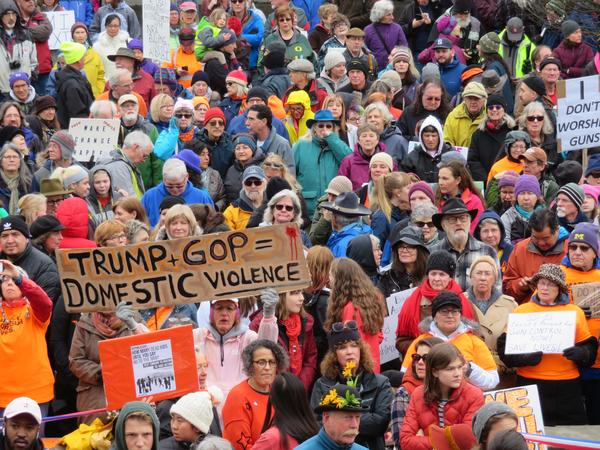 Crowds gather in Eugene, Oregon, to demand changes to gun laws during the March for Our Lives