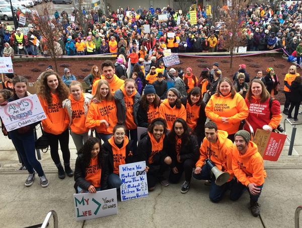 Student organizers at the March For Our Lives event in Eugene, Oregon