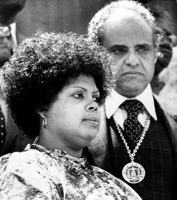 Linda Brown, left, attends ceremonies in 1979 observing the anniversary of the Supreme Court's ruling in her father's class-action lawsuit against the Board of Education in Topeka, Kan.