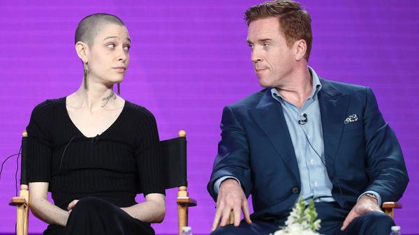 Actors Asia Kate Dillon (left) and Damian Lewis of the television show <em>Billions</em> speak during 2018 Winter Television Critics Association Press Tour in Pasadena, Calif.