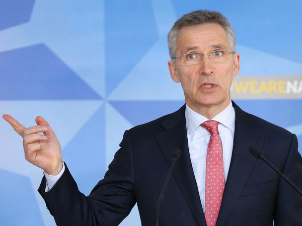 NATO Secretary-General Jens Stoltenberg speaks during a news conference to announce the withdraw of accreditation for staffers of Russia's Mission to NATO, in Brussels on Tuesday.
