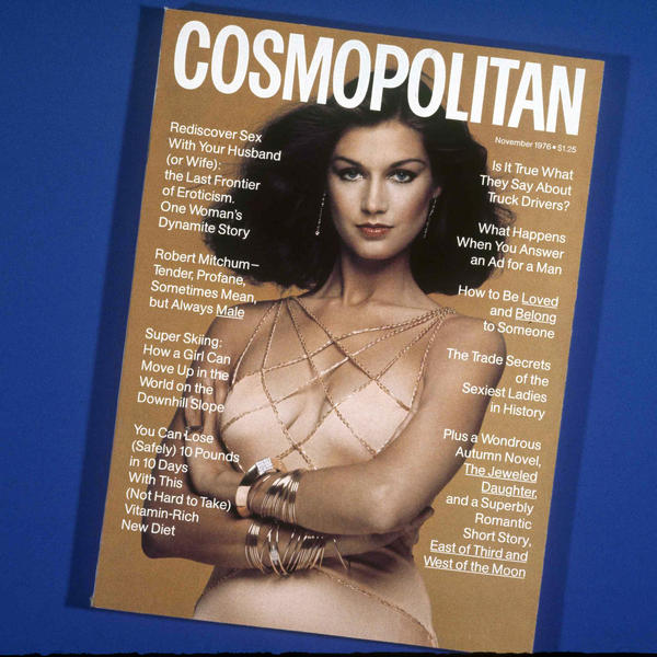 A <em>Cosmopolitan</em> magazine from November 1976. Since being rebranded as a women's magazine in 1965, it has become a mainstay of shopping aisles. Walmart said Tuesday it is removing <em>Cosmo</em> from its check-out lines.