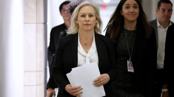 Sen. Kirsten Gillibrand, D-N.Y., arrives for a news conference on sexual harassment in the workplace in December on Capitol Hill.