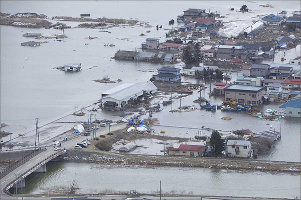An aerial view of Ishinomaki, Japan, on March 18, 2011, one week after a devastating 9.0 magnitude earthquake and subsequent tsunami.