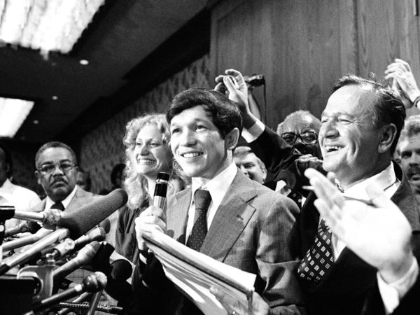 Then-Cleveland Mayor Dennis Kucinich is all smiles as he claims victory in a recall election on Aug. 14, 1978, in Cleveland.