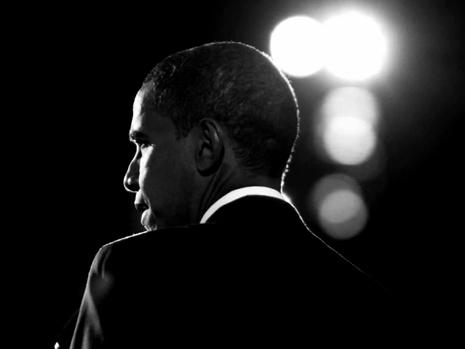 A screen shot of President Obama from the trailer for his campaign's movie <em>The Road We've Traveled</em>.