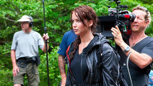 Jennifer Lawrence on the set of <em>The Hunger Games</em>.