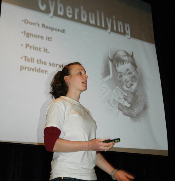 Erica Newell of the Massachusetts Aggression Reduction Center gives an anti-bullying presentation to middle-schoolers in Medway, Mass.