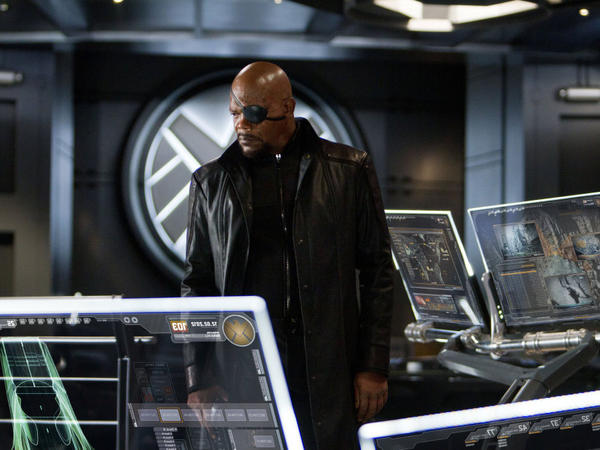 S.H.I.E.L.D. director Nick Fury (Samuel L. Jackson) appeared in earlier Marvel movies only in cameos, but he takes on a central role as he brings the Avengers together.