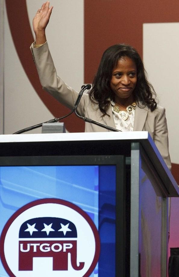 Saratoga Springs Mayor Mia Love speaks at the Republican state convention April 21 in Sandy, Utah.