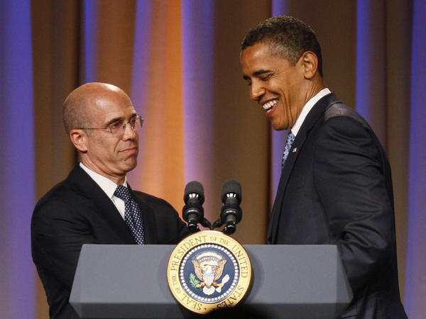 Katzenberg introduces President Obama at a 2009 Democratic National Committee fundraiser in Los Angeles.