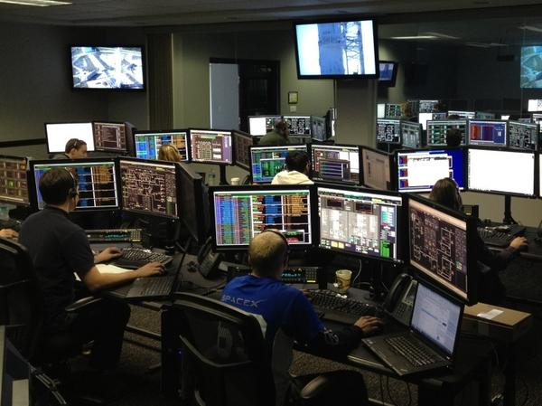 NASA and SpaceX partnered closely to make the mission to the International Space Station possible. Above, the SpaceX control room.