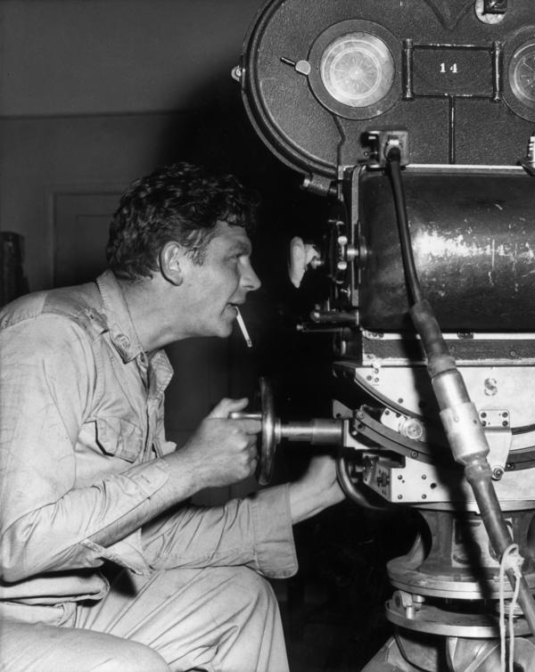 Griffith on the set of the 1958 film <em>No Time for Sergeants</em>. Griffith starred in the live television, Broadway and film adaptations of Mac Hyman's 1954 novel.