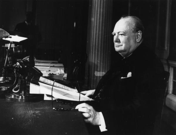 Churchill makes his broadcast to the world on V-E Day, May 8, 1945.