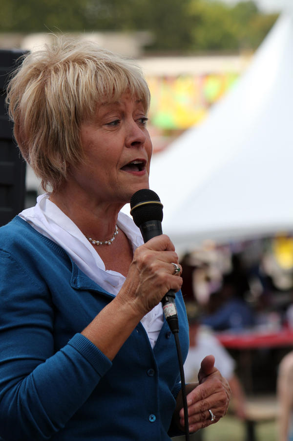 Former Iowa first lady Christie Vilsack speaks at a political soapbox at the Iowa State Fair in Des Moines.