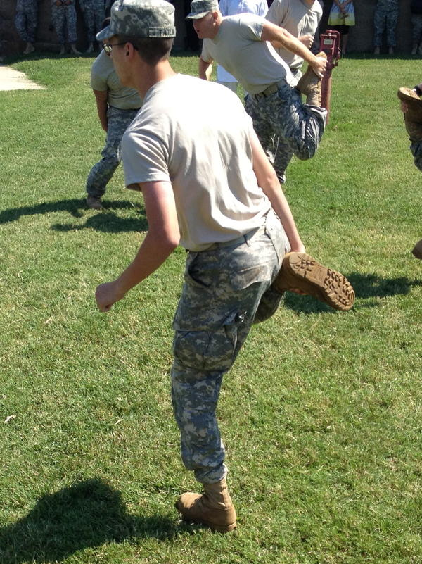 U.S. Army soldiers learn to play <em>khosai,</em> Afghanistan's full-contact national pastime, at Fort Campbell.