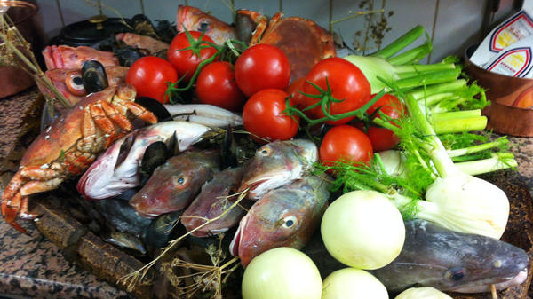 The ingredients for a <em>vrai</em> bouillaibaisse at Le Miramar in Marseille, France.